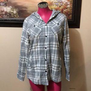 Eddie Bauer Lined Flannel Hooded Shirt Sz Medium